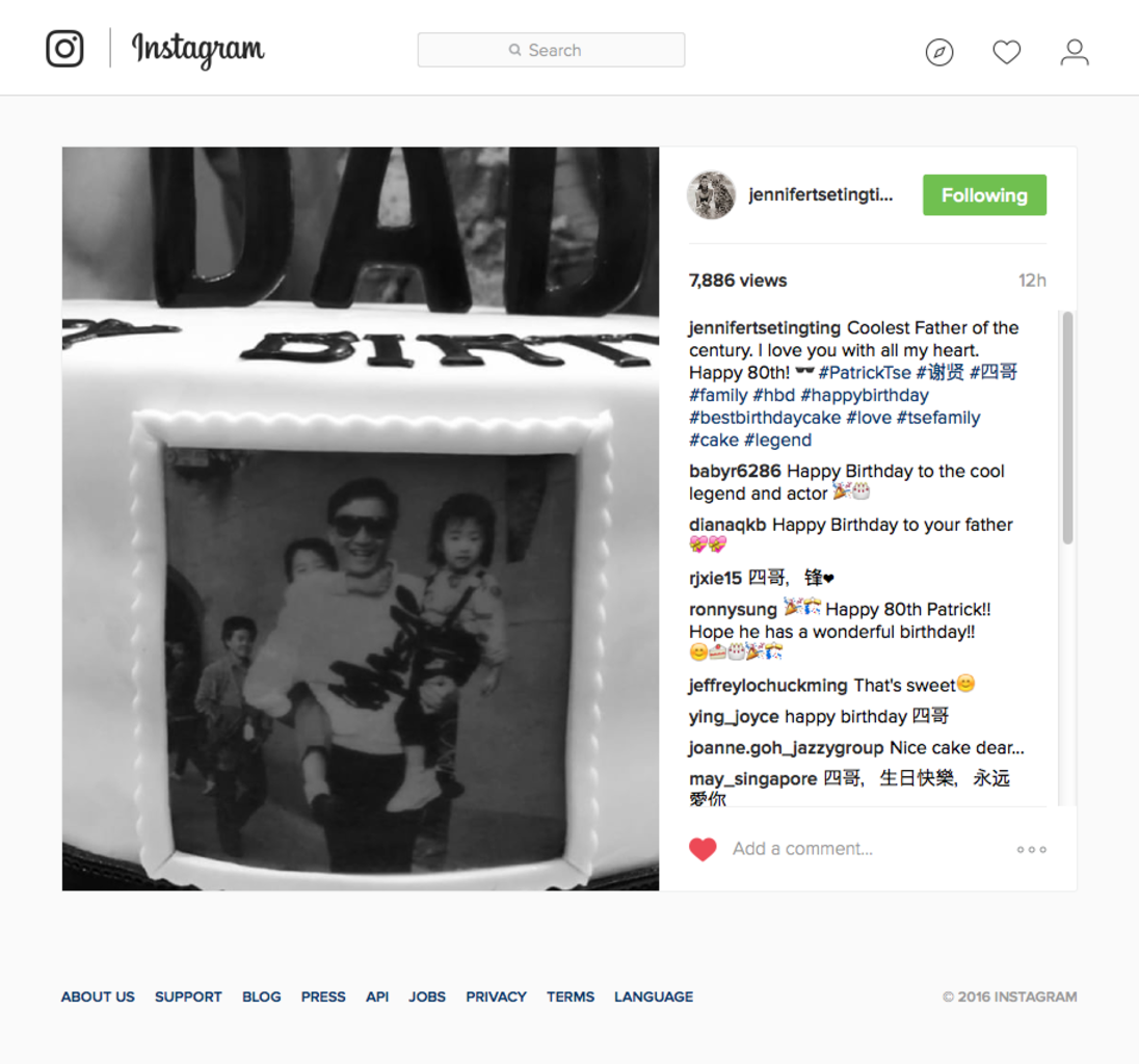 Jennifer tse xie ting ting on instagram coolest father of the century dot i love you with all my heart dot happy 80t